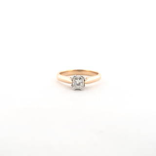 18ct rose gold and platinum princess cut diamond solitaire ring