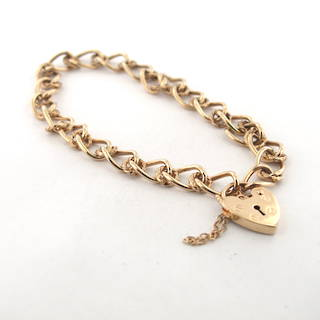 9ct yellow gold textured oval link heart padlock bracelet