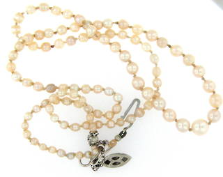 Graduated antique natural pearl necklace
