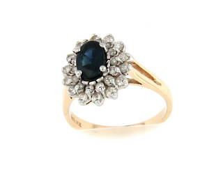14ct yellow gold dark sapphire and diamond cluster ring