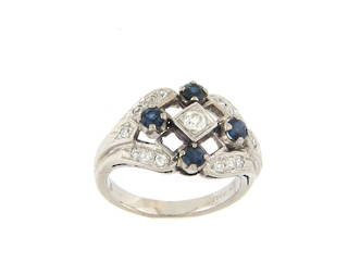 18ct white gold/palladium sapphire and diamond set dress ring
