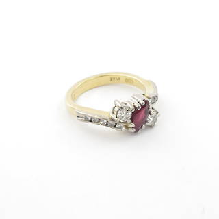 18ct yellow and white gold ruby and diamond set ring