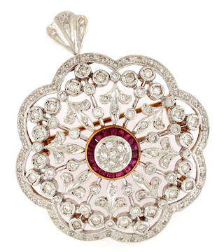 18ct yellow gold and rhodium plated antique design diamond and ruby set brooch/pendant