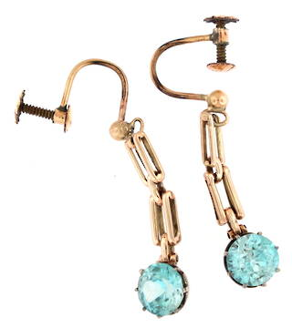 9ct rose gold natural blue zircon drop earrings