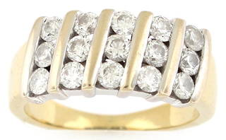 18ct yellow and white gold 15 x diamond set channel set ring