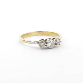 18ct yellow gold and white gold three diamond set vintage ring
