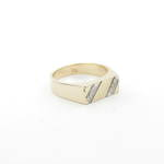 Men's 9ct yellow gold diamond set dress ring