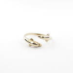14ct gold twin dolphin ring