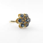 14ct yellow gold and sapphire cluster ring