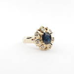 14ct yellow gold lady's sapphire and cubic zirconia cluster ring