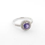 10ct white gold, amethyst and diamond set dress ring