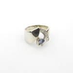 9ct white gold ceylonese sapphire and cubic zirconia ring