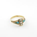 15ct yellow gold antique turquoise and pearl ring