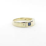 14ct yellow gold sapphire and diamond set ring