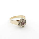 9ct yellow gold garnet and diamond dress ring