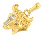 18ct yellow/white gold 'Bull' charm