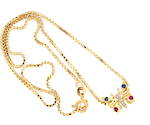 18ct yellow gold box chain with 18ct yellow/white gold sapphire and ruby butterfly pendant
