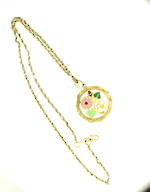 20ct yellow gold coloured enameled fancy pendant and chain