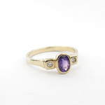 9ct yellow gold amethyst and diamond set dress ring