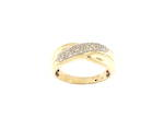 Unisex 9ct yellow and white gold diamond set ring