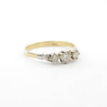 18ct yellow gold and platinum vintage three stone diamond set ring