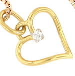14ct yellow and white gold diamond set heart open pendant