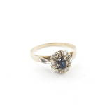 9ct yellow and white gold sapphire and diamond cluster ring
