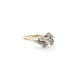 18ct yellow and white gold vintage three diamond set ring