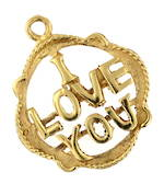 9ct yellow gold 'I Love You' charm