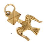 9ct yellow gold 'Messenger Bird' charm