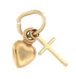 9ct yellow gold 'Heart and cross' charm