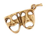 9ct yellow gold 'Sad and happy face mask' charm