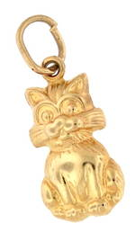 9ct yellow gold 'Cat' charm