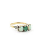 18ct yellow gold and platinum natural emerald and opal vintage ring
