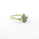 14ct yellow gold natural emerald and diamond leaf style ring