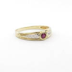 9ct yellow and white gold rub over natural ruby and diamond set ring