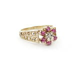 9ct yellow and white gold natural ruby and diamond flower cluster ring