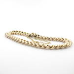 9ct rose gold curb link bracelet with safety chain