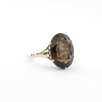 9ct yellow gold vintage smokey quartz ring