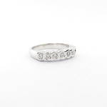 9ct white gold 5 x cubic zirconia rub over set ring