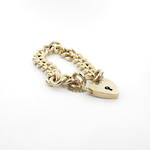 9ct yellow gold chunky curb link bracelet with heart padlock and safety chain