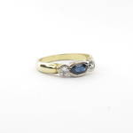 18ct yellow and white gold sapphire and diamond rub over set ring