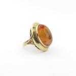 14ct yellow gold vintage large agate set ring