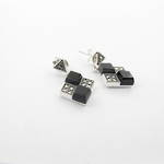 Brand new sterling silver onyx and marcasite diamond shaped drop earrings