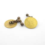 9ct yellow gold cufflinks with 22ct South African 1/2 Pond coins