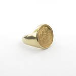 9ct yellow gold 22ct half sovereign unisex ring