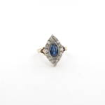 18ct yellow gold and platinum art deco sapphire and diamond set ring