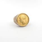 Gent's 9ct yellow gold full sovereign coin set ring