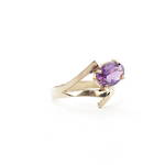 9ct yellow gold amethyst set ring