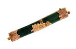 Vintage 9ct rose gold set greenstone brooch